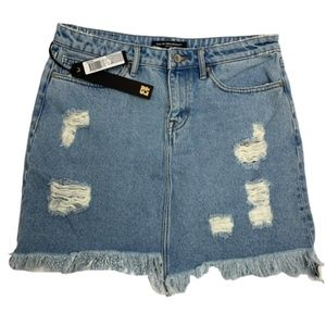 90s Style Grunge Distressed Holey Jean Skirt 30